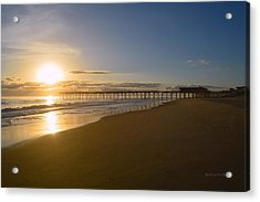 Acrylic Print featuring the photograph Outer Banks Pier Sunrise by Barbara Ann Bell