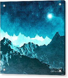 Acrylic Print featuring the digital art Outer Space Mountains by Phil Perkins