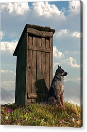 Outhouse Guardian - German Shepherd Version Acrylic Print by Daniel Eskridge