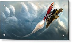 Acrylic Print featuring the digital art Outrunning The Clouds by Steve Goad