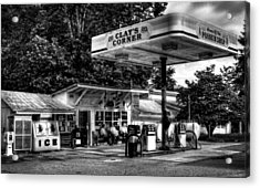 Outside At Clays Corner In Black And White Acrylic Print by Greg Mimbs