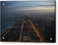 Over Chicago At Dusk Acrylic Print