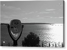 Over Looking The Bay Black And White Acrylic Print