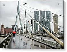 Acrylic Print featuring the photograph Over The Erasmus Bridge In Rotterdam With Red Umbrella by RicardMN Photography