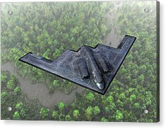 Acrylic Print featuring the painting Over The River And Through The Woods In A Stealth Bomber by Dave Luebbert
