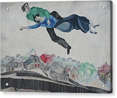 Over The Town Acrylic Print by Marc Chagall