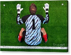 Overhead Shot Of A Goalkeeper On The Goal Line Acrylic Print