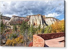 Acrylic Print featuring the photograph Overlook In Zion National Park Upper Plateau by John M Bailey