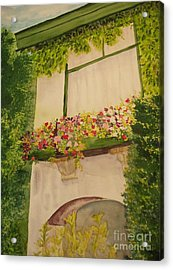 Acrylic Print featuring the painting Overlooking Butchard Gardens  by Vicki  Housel
