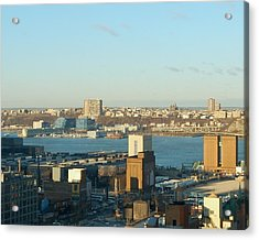 Overlooking The Hudson River From 42nd Street II Acrylic Print by Susan Heller