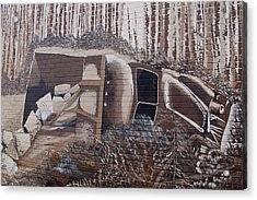Overturned Truck Street Art Acrylic Print by Robert Braley