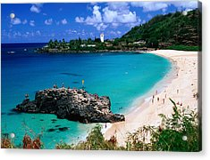 Overview Of Waimea Bay On The North Shore, Waimea, United States Of America Acrylic Print by Ann Cecil