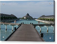 Overwater Bungalows Acrylic Print by Andrei Fried