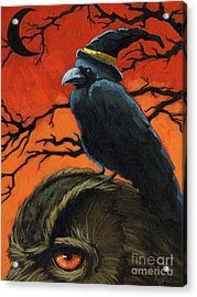 Owl And Crow Halloween Acrylic Print