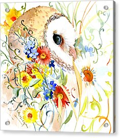 Owl And Flowers Acrylic Print by Suren Nersisyan