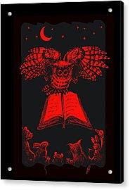 Owl And Friends Redblack Acrylic Print