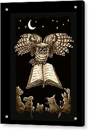 Owl And Friends Sepia Acrylic Print