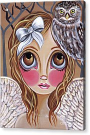 Owl Angel Acrylic Print by Jaz Higgins