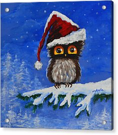 Owl Be Home For Christmas Acrylic Print by Agata Lindquist