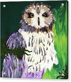 Owl Behind A Tree Acrylic Print