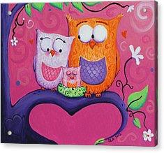 Owl Family Acrylic Print by Jennifer Alvarez