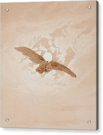 Owl Flying Against A Moonlit Sky Acrylic Print by Caspar David Friedrich