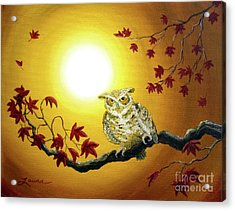 Owl In Autumn Glow Acrylic Print by Laura Iverson