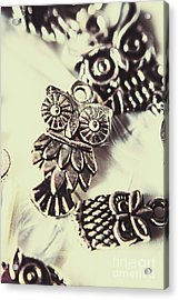 Owl Pendants. Charms Of Wisdom Acrylic Print by Jorgo Photography - Wall Art Gallery