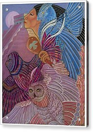 Owl Woman At Chichen Itza Acrylic Print