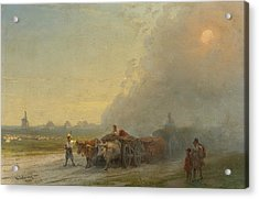 Ox-carts In The Ukrainian Steppe Acrylic Print by Ivan Aivazovsky