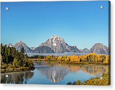 Oxbow Bend Reflecting Acrylic Print by Mary Hone