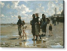 Oyster Gatherers At Cancale Acrylic Print by John Singer sargent