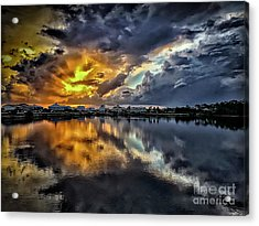 Oyster Lake Sunset Acrylic Print by Walt Foegelle