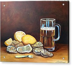 Acrylic Print featuring the painting Oysters And Beer by Susan Dehlinger
