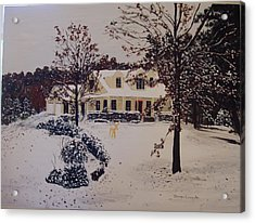 Ozark House Christmas Snow Acrylic Print by Sharon  De Vore