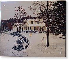 Ozark House Christmas Snow Acrylic Print by Sharon  De Vore