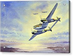 Acrylic Print featuring the painting P-38 Lightning Aircraft by Bill Holkham