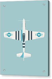 P51 Mustang Fighter Aircraft - Sky Acrylic Print