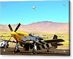 P51 Mustangs Lou Iv And Strega 2010 Reno Air Races Acrylic Print by Gus McCrea