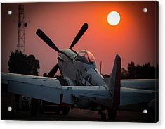 Acrylic Print featuring the photograph P51 Sunset by Paul Job