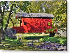 Pa Country Roads - Ebenezer Covered Bridge Over Mingo Creek No. 11b - Autumn Washington County Acrylic Print