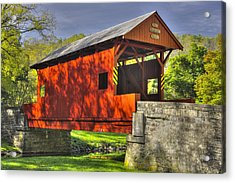 Pa Country Roads - Ebenezer Covered Bridge Over Mingo Creek No. 6a - Autumn Washington County Acrylic Print