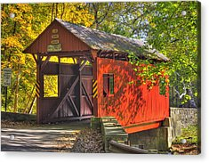 Pa Country Roads - Henry Covered Bridge Over Mingo Creek No. 3a - Autumn Washington County Acrylic Print
