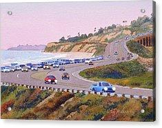 Pacific Coast Hwy Del Mar Dusk Acrylic Print by Mary Helmreich