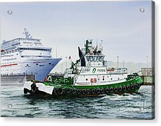 Acrylic Print featuring the painting Pacific Escort Cruise Ship Assist by James Williamson