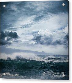 Acrylic Print featuring the photograph He Inoa Wehi No Hookipa  Pacific Ocean Stormy Sea by Sharon Mau