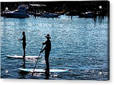Paddle Boarding In The Marina Acrylic Print by Susan Vineyard