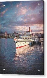 Paddle Steamer Simplon Lake Geneva Switzerland Acrylic Print by Carol Japp