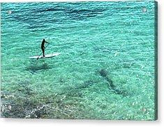 Paddle The Aqua Sea Acrylic Print
