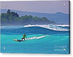 Paddleboarder Rides The Outside Break Acrylic Print